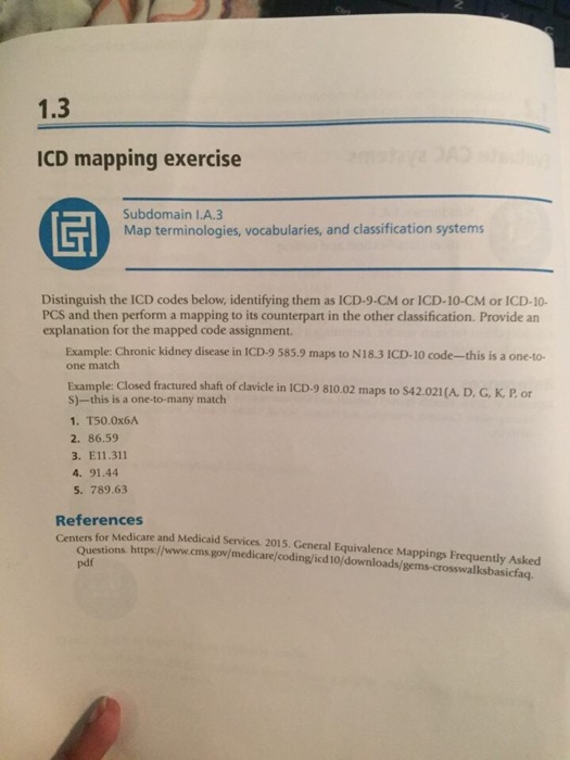 Solved: 1.3 ICD Mapping Exercise Subdomain I.A.3 Map Termi ... on