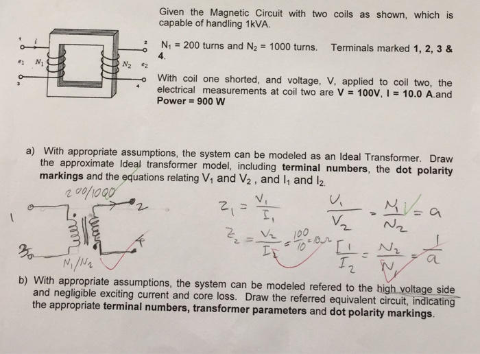 Solved: Given The Magnetic Circuit With Two Coils As Shown ...