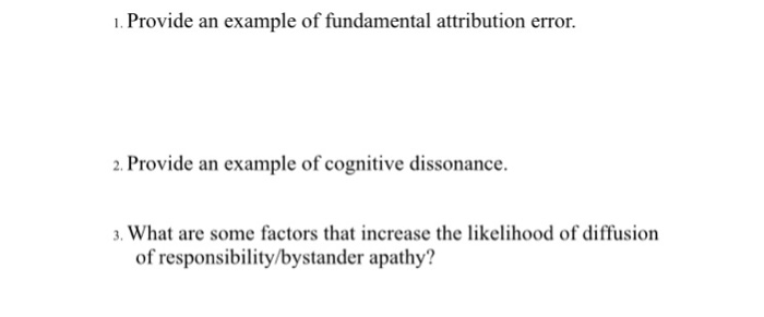 Solved Provide An Example Of Fundamental Attribution Er
