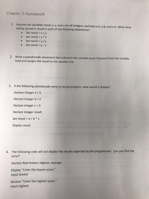 chapter 1 2 homework The assignment for this week is 2e1 - 2e4, 2m3, and 2m4 from chapter 2 chapter 2 homework, part 1 exercises (5) git and github questions and practice.