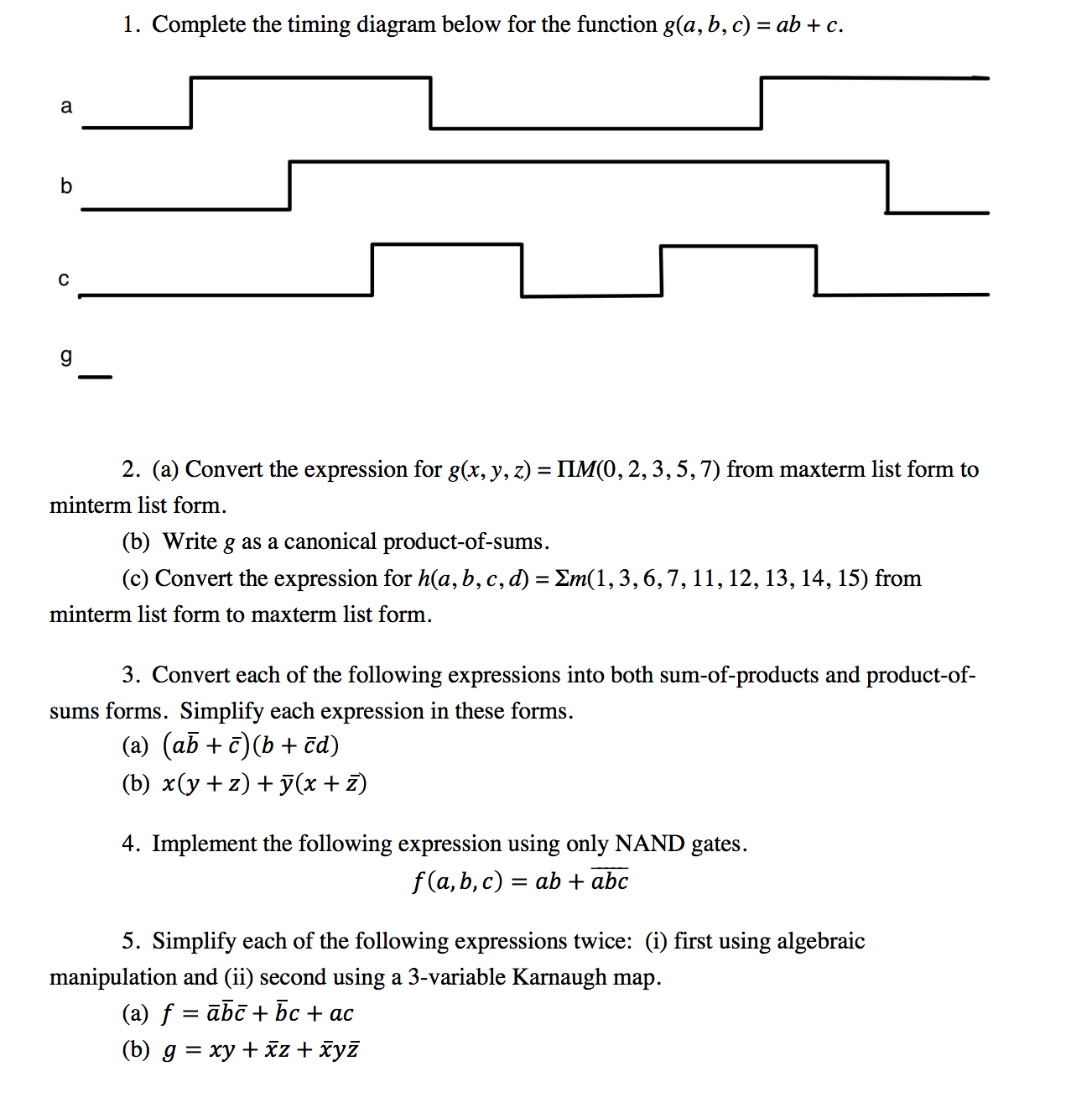 1 Complete The Timing Diagram Below For Funct