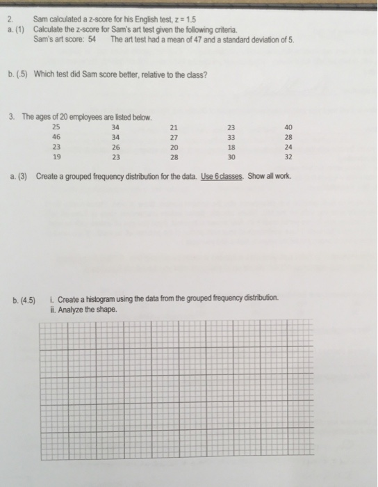 Solved: Sam Calculated A Z-score For His English Test, Z=1
