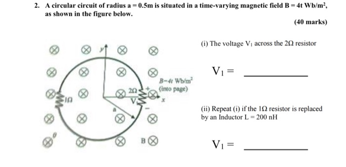 solved a circular circuit of radius a 0 5m is situated rh chegg com