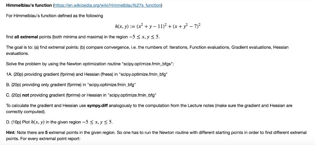 Himmelblau's Function (https://en wikipedia org/wi