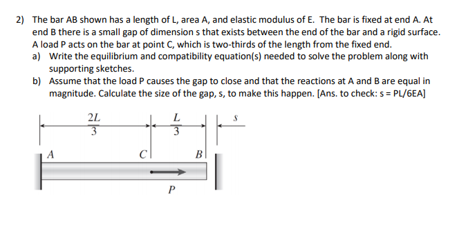 2 The Bar Ab Shown Has A Length Of L Area And