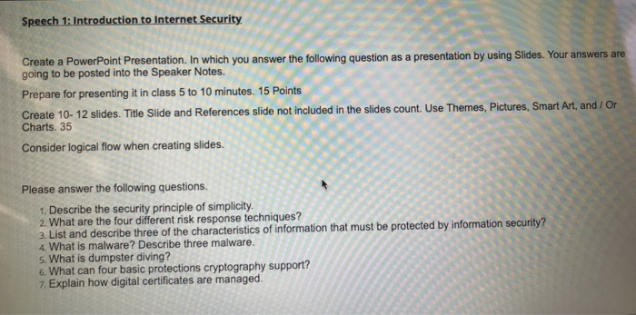 Solved: Speech 1: Introduction To Internet Security Create
