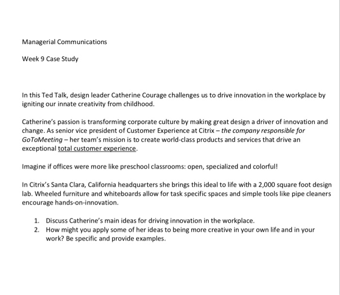 Solved: Managerial Communications Week 9 Case Study In Thi