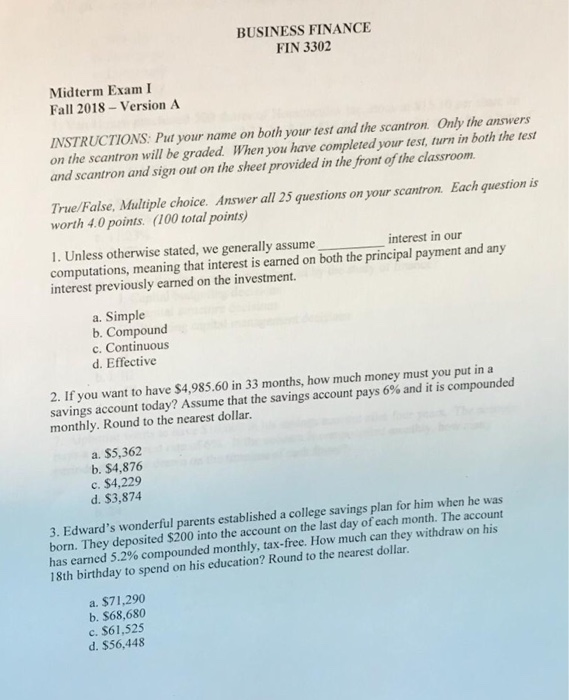 business finance fin 3302 midterm exam i fall 2018 version a instructions put your