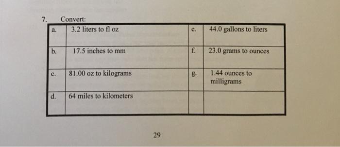 7 Convert A 32 Liters To Fl Oz B 175 Inches