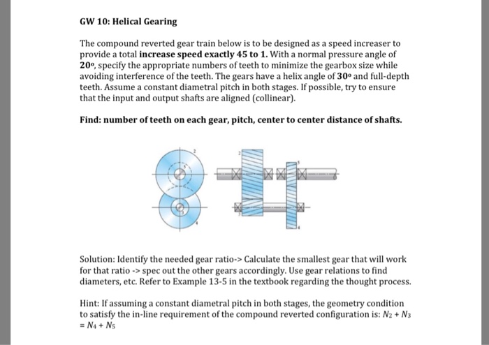 gw 10: helical gearing the compound reverted gear train below is to be  designed as
