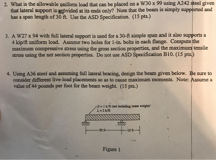 What Is The Allowable Uniform Load That Can Be Placed On A W30 X