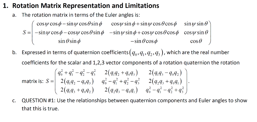 Solved: 1  Rotation Matrix Representation And Limitation:s