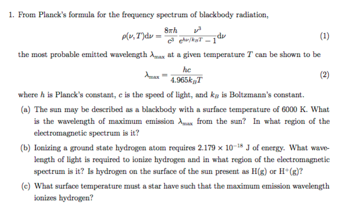Solved: 1  From Planck's Formula For The Frequency Spectru