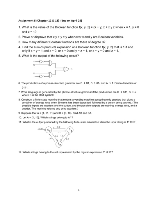 Solved What Is The Value Of The Boolean Function Fx Y