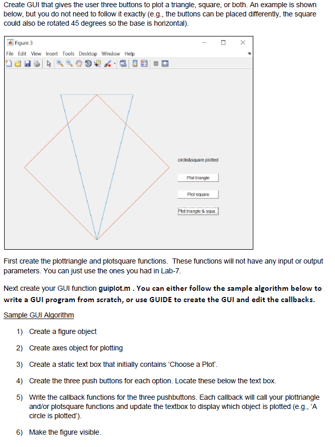 Create GUI In Matlab These Are My Functions To Cre    | Chegg com