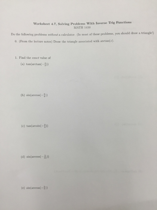 Solved Worksheet 47 Solving Problems With Inverse Trig