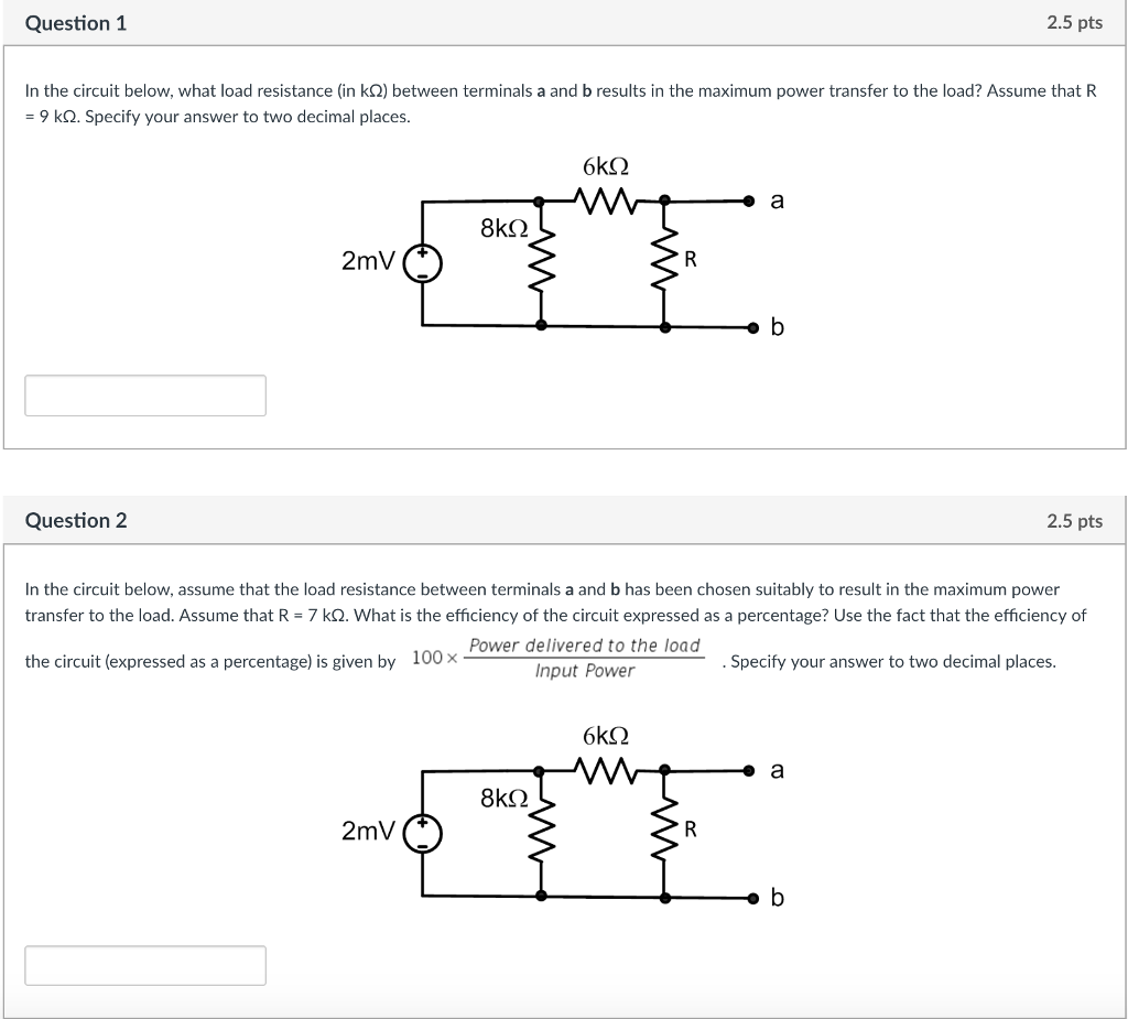 Solved Question 1 25 Pts In The Circuit Below What Load Diagram Ks2 Resistance
