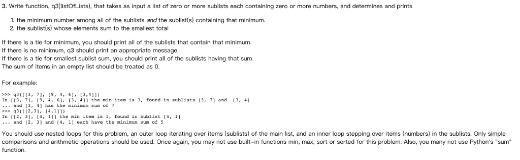 Solved: This Is A Python Work  NOTE: You May Not Use Any F