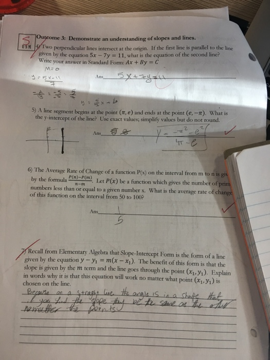 Solved Me 3 Demonstrate An Understanding Of Slopes And L