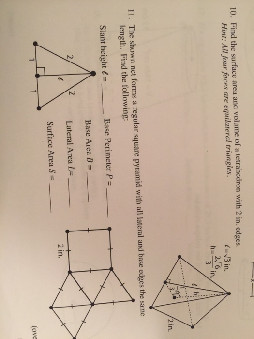 Solved: Find The Surface Area And Volume Of Tetrahedron Wi ...