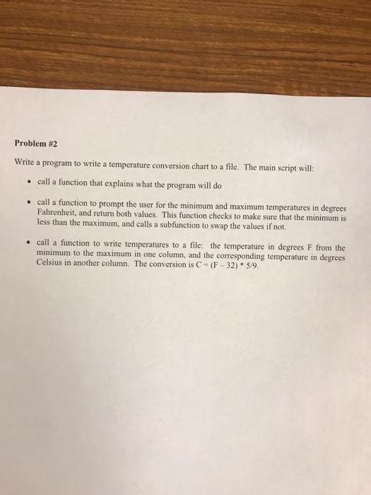 Solved Problem 2 Rite A Program To Write A Temperature C