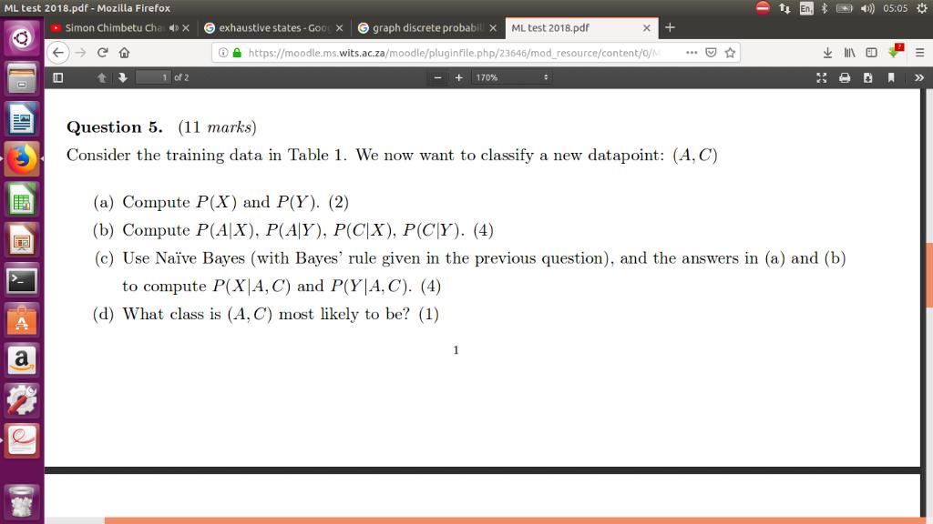 Solved: ML Test 2018 pdf - Mozilla Firefox Simon Chimbetu