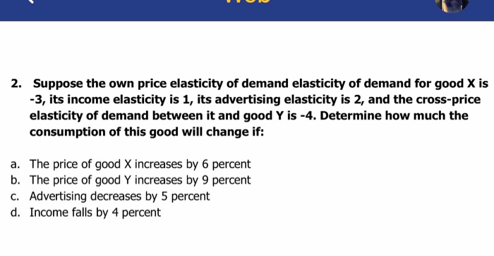 Solved Suppose The Own Price Elasticity Of Demand Elastic Chegg Com