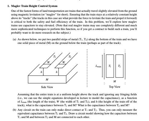 Solved: 1  Maglev Train Helght Control System One Of The F