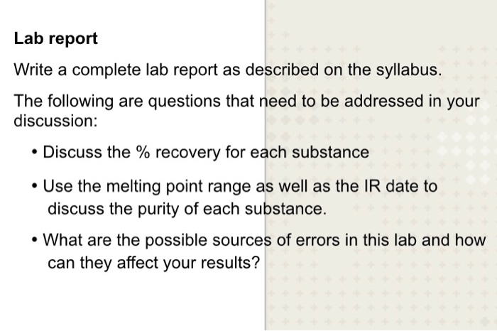 separation of a mixture lab report answers