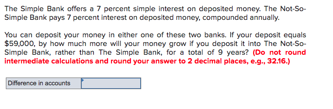 Solved: The Simple Bank Offers A 7 Percent Simple Interest