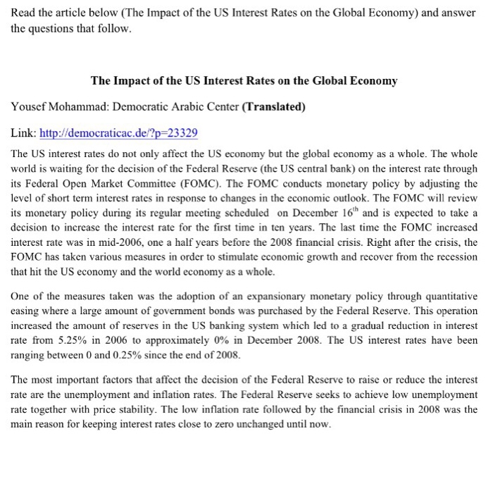 Question Read The Article Below The Impact Of The Us Interest Rates On The Global Economy And Answer The