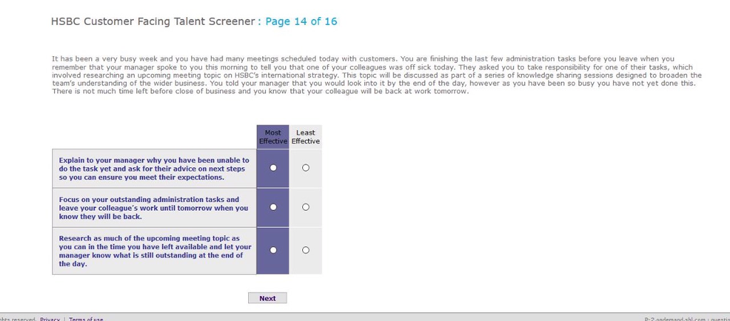 Solved: HSBC Customer Facing Talent Screener: Page 14 Of 1