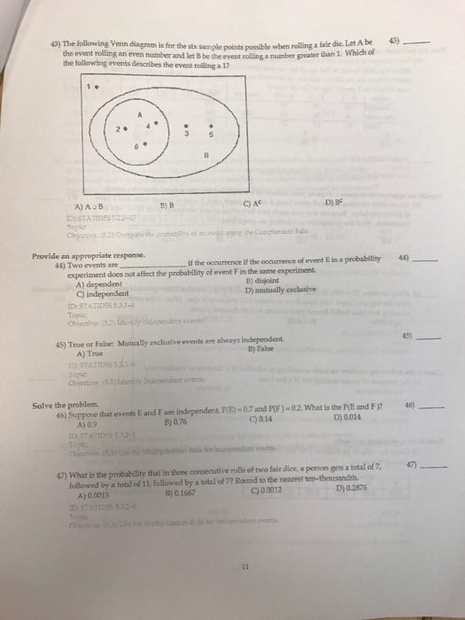 Solved Ollowing Venn Diagram Is For The Six Sample Points