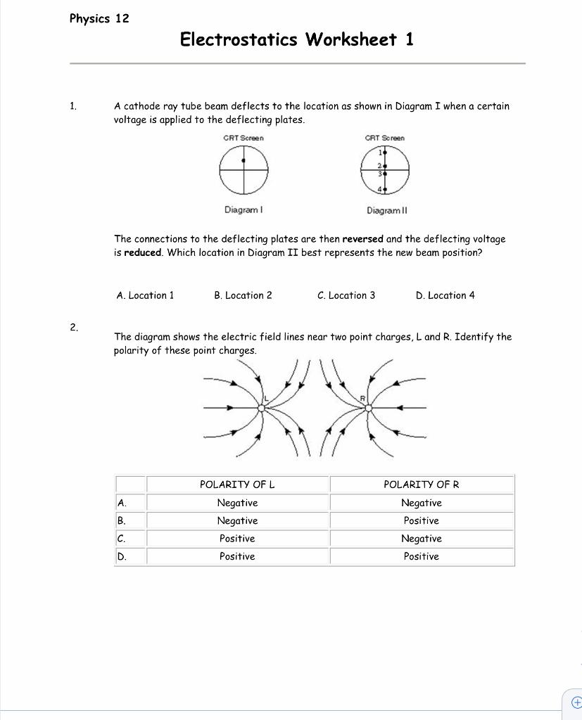 Solved: Physics 12 Electrostatics Worksheet 1 A Cathode Ra ...