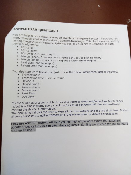 SAMPLE EXAM QUESTION 2 You Are Helping Your Client