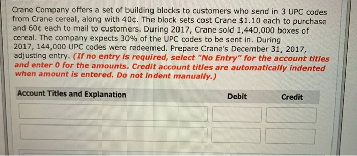 Crane Company offers a set of building blocks to customers who send in 3 UPC codes from Crane cereal, along with 40. The bloc