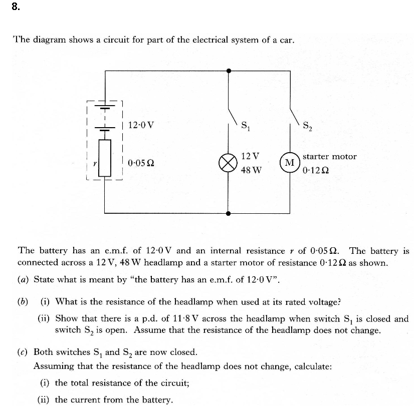 Solved The Diagram Shows A Circuit For Part Of The Electr Chegg Com