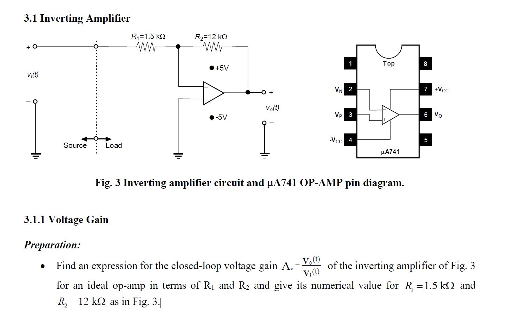 Solved: 3.1 Inverting Amplifier R1=1.5 KΩ R,-12k Top +5V V ... on
