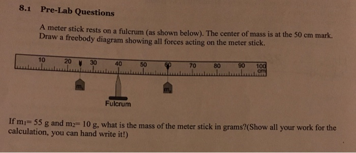 Solved  A Meter Stick Rests On A Fulcrum  As Shown Below