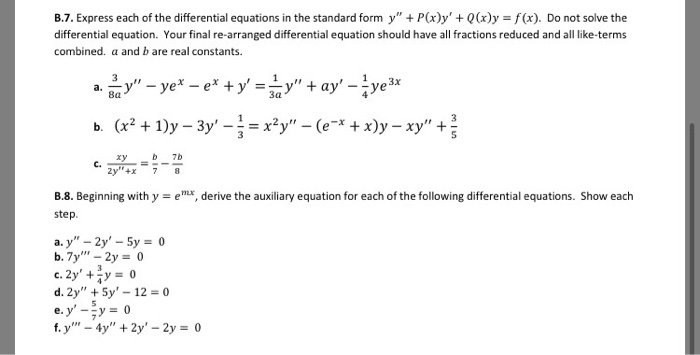 Solved B7 Express Each Of The Differential Equations In