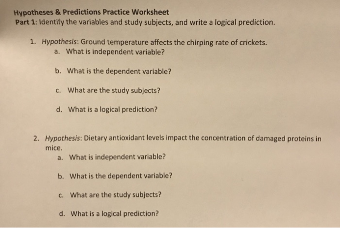Solved Hypotheses Predictions Practice Worksheet Part 1