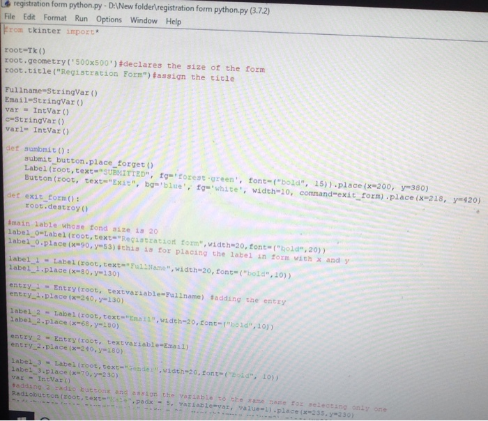 Hi I Need Help In Python Running A Registration Fo