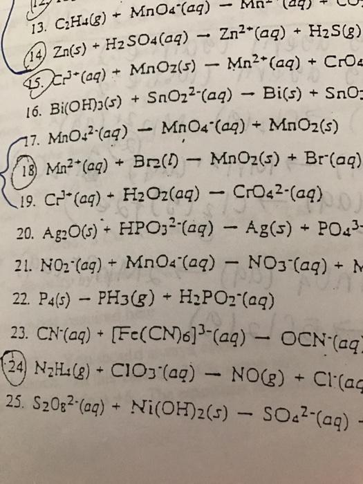 Solved C2h4g Mno 4 Aq Mn Zns H2so4aq Rig