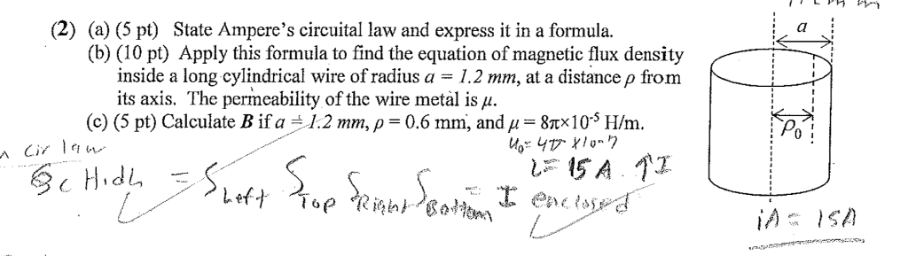 Solved: (2) (a) (5 Pt) State Ampere's Circuital Law And Ex