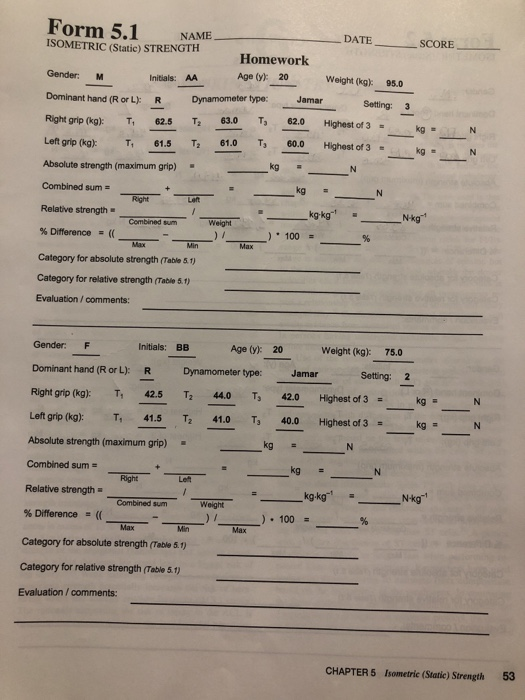 Form 5 1 NME DATE SCORE ISOMETRIC (Static) STRENGT