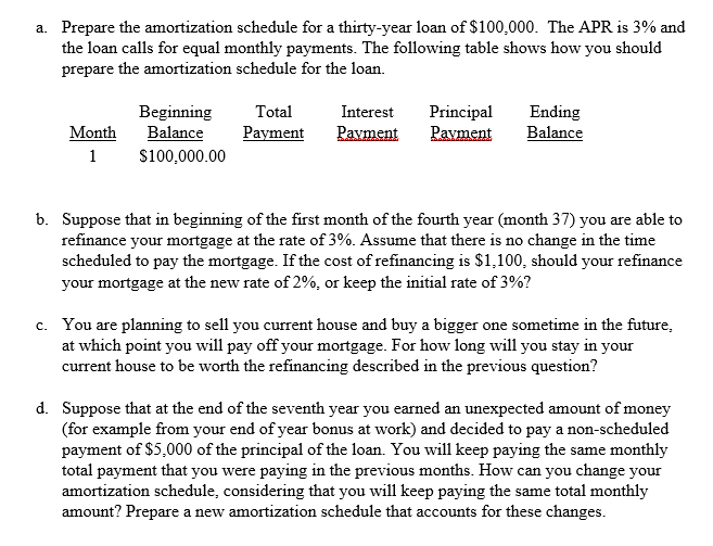 solved prepare the amortization schedule for a thirty yea
