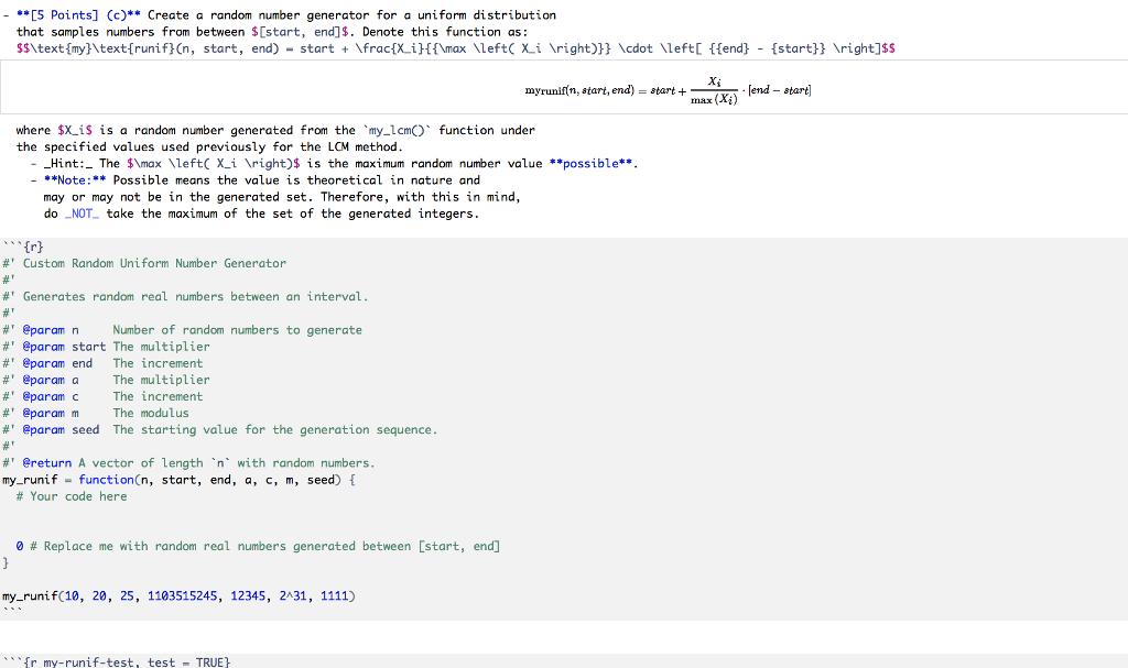 5 Points] (c)**Create A Random Number Generator    | Chegg com
