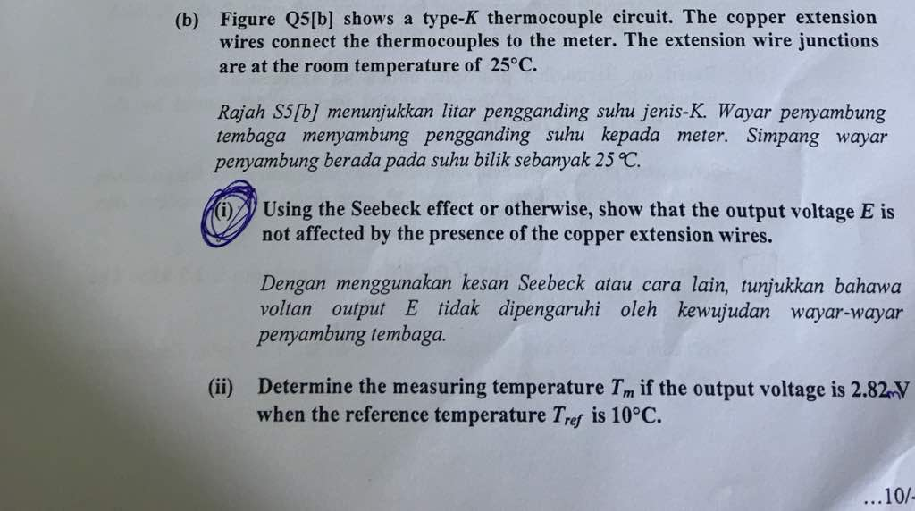 Solved: (b) Figure Q5lb] Shows A Type-K Thermocouple Circu ...