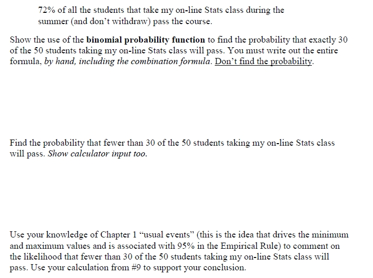 Solved: 72% Of All The Students That Take My On-line Stats