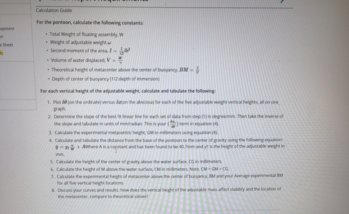 Solved: Calculation Guide For The Pontoon, Calculate The F